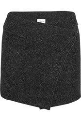 Etoile Isabel Marant Dailon Wool Blend Boucle Wrap Mini Skirt Charcoal