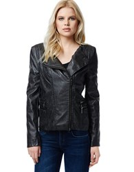 Buffalo David Bitton Elita Faux Leather Asymmetrical Zip Moto Jacket Black