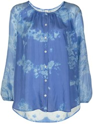 Raquel Allegra Silk Abstract Print Blouse Blue