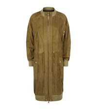 Balmain Longline Suede Coat Female Green