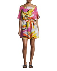 Emilio Pucci Fiore Maya Printed Off The Shoulder Coverup Dress Pink Yellow White Pink Pattern
