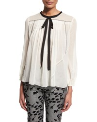 Marc Jacobs 3 4 Sleeve Contrast Tie Peasant Blouse White
