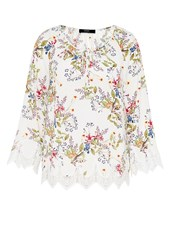 Hallhuber Tunic Blouse With Wide Lace Hems Multi Coloured Multi Coloured