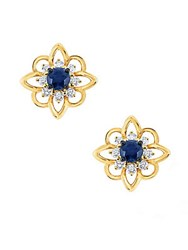 Kc Designs Sapphire And Diamond Yellow Gold Flower Stud Earrings No Color