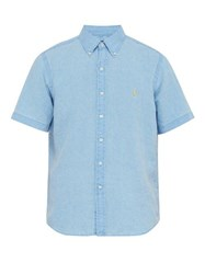 Polo Ralph Lauren Logo Embroidered Linen Shirt Light Blue
