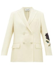 Valentino Cosmos Rose Double Breasted Wool Jacket White Multi