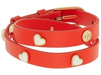 Tory Burch Amore Heart Double Wrap Bracelet Samba Gold Bracelet Red