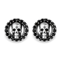 Platadepalo Canalla Silver And Zircon Skull Earrings Black Silver