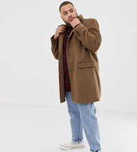 Jacamo Smart Wool Mix Coat In Camel Brown