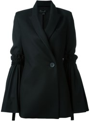 Ellery Ruched And Flared Sleeve Single Breasted Blazer Black