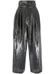 Marc Jacobs High Waisted Sequin Trousers Silver