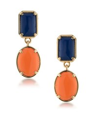 1St And Gorgeous Blue Orange Cabochon Double Drop Earrings Gold