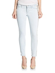Hudson Sequin Tuxedo Stripe Cropped Super Skinny Jeans Local Blue