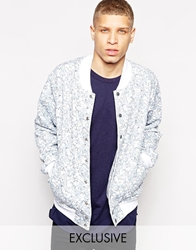 American Apparel Bomber Jacket With Marble Print Whitemarble