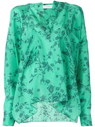 Faith Connexion Floral Print Blouse Women Silk S Green