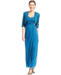 R And M Richards Sleeveless Sequin Lace Gown And Jacket