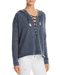 Vintage Havana Lace Up French Terry Sweatshirt Blue
