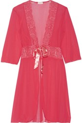 Cosabella Lace Trimmed Tulle Robe Bright Pink