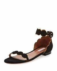 Tabitha Simmons Pearl Suede Ankle Wrap Flat Black Gold Black Gold