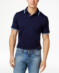 Club Room Men's Interlock Tipped Polo Only At Macy's Navy Blue