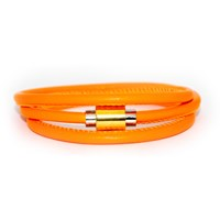 Liza Schwartz Jewelry Neon Flash Wrap Leather Bracelet Neon Orange