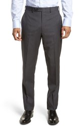 Jb Britches 'S Big And Tall Flat Front Check Wool Trousers Mid Grey
