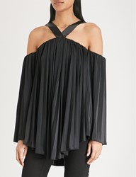 Moandco. Cold Shoulder Asymmetric Pleated Satin Top Black
