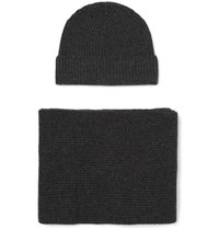 Johnstons Of Elgin Ribbed Cashmere Scarf And Beanie Set Gray