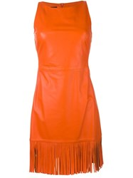 Boutique Moschino Fringed Fitted Dress Yellow And Orange