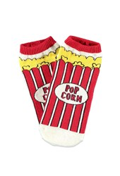Forever 21 Popcorn Patterned Ankle Socks Cream Red