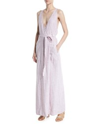 Leon Max V Neck Racerback Sleeveless Linen Maxi Wrap Dress White Red