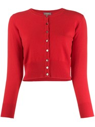 N.Peal Cashmere Cropped Cardigan Red