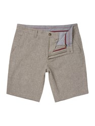 Linea Greenford Crosshatch Linen Shorts Taupe