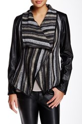 Vakko Printed Faux Leather Sleeve Jacket Gray