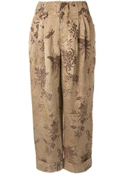 Uma Wang Turned Up Floral Print Trousers Neutrals
