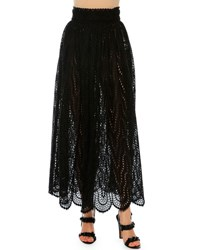 Valentino High Waist Scalloped Lace Skirt Black