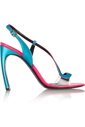 Nicholas Kirkwood Neon Metallic And Patent Leather Sandals Blue