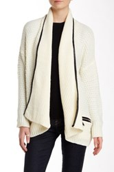 Fate Faux Leather Trim Sweater Beige
