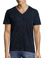 Splendid Mills V Neck Short Sleeve Patterned Tee Navy