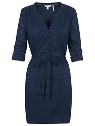Fat Face Lara Broderie Shirt Dress Indigo