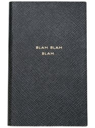 Smythson 'Blah Blah Blah' Panama Notebook Black