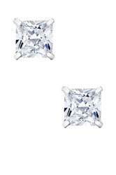 14K White Gold Princess Cut 4Mm Swarovski Crystal Detailed Stud Earrings No Color