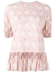 Stella Mccartney Swan Print Skirt Blouse Pink And Purple