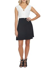 1.State Colorblock Fit And Flare Dress White Black