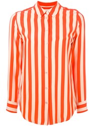 Equipment Striped Shirt Women Silk Xs Yellow Orange