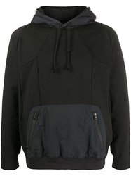 White Mountaineering Contrast Fitted Hoodie Black