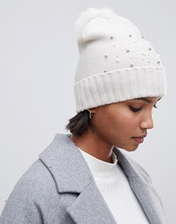 Oasis Beanie With Bead Embellishment In White Cream