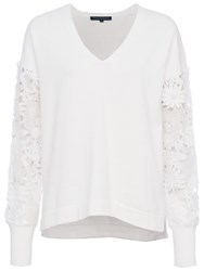 French Connection Manzoni 3D Floral Lace Sleeved Jumper Summer White