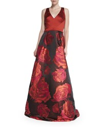 Theia Sleeveless Combo Floral Skirt Ball Gown Women's