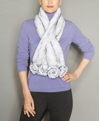 The Fur Vault Rosette Knitted Rex Rabbit Scarf White